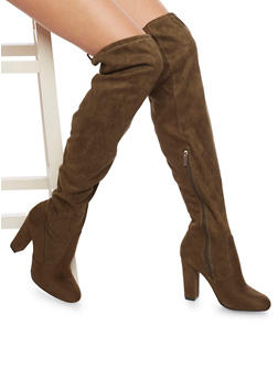 Over the Knee Wide Calf Boots in Faux Suede - OLIVE - 1113004065455