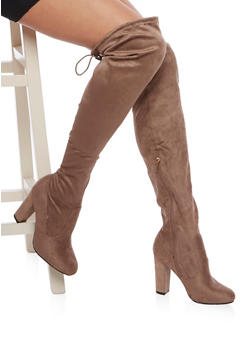 Over the Knee Wide Calf Boots in Faux Suede - TAUPE - 1113004065455