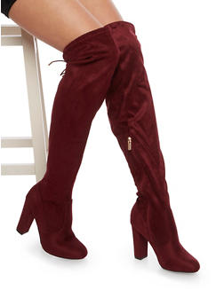 Over the Knee Wide Calf Boots in Faux Suede - BURGUNDY - 1113004065455