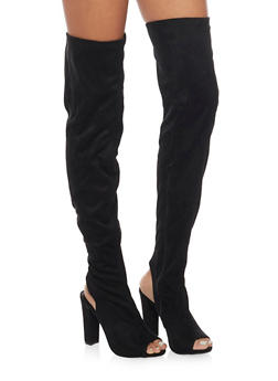 Stretch Thigh High Peep Toe Boot - BLACK F/S - 1113004065463