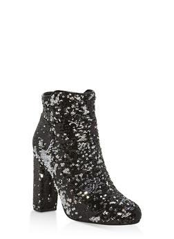 Reversible Sequin High Heel Booties - BLACK MULTI - 1113004065486