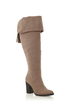 Wide Calf Knee High Boots with Tassels - 1113004066666