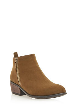 Pointed Toe Ankle Booties with Dual Side Zippers - OLIVE F/S - 1113004067234