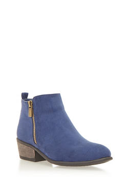 Pointed Toe Ankle Booties with Dual Side Zippers - NAVY F/S - 1113004067234