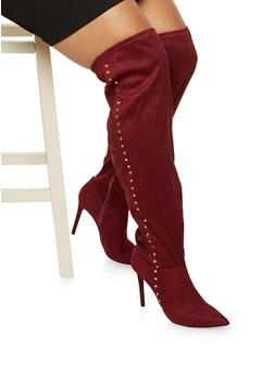 Over The Knee Boots with Round Toes and Chunky Heels - 1113004067479