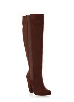 Contrast Panel Knee-High Boots With Thick Heel,BROWN,medium
