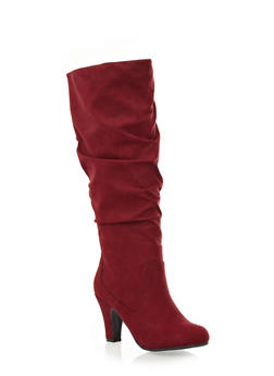 Wide Calf Ruched Boots with Chunky Heel,BURGUNDY,medium
