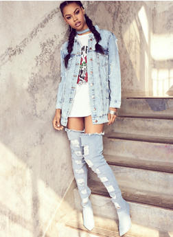 Distressed Thigh High Denim Boots - 1113004069677