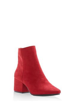Side Zip Block Heel Booties - 1113014062364