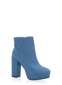 Platform Block Heel Booties - DENIM - 1113014062666