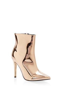 Mirror Metallic Faux Leather Booties - ROSE GOLD PATENT - 1113014063338
