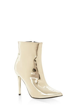 Mirror Metallic Faux Leather Booties - GOLD PATENT - 1113014063338