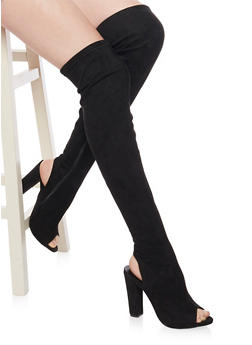 Open Toe Over The Knee Boots with Heel Cutout - BLACK SUEDE - 1113014065463
