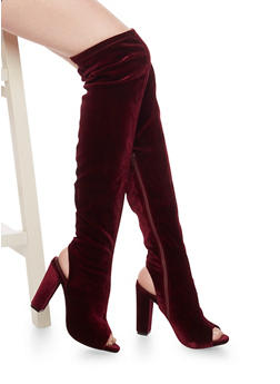 Open Toe Over The Knee Boots with Heel Cutout - 1113014065463