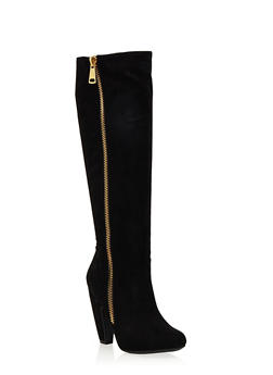 Knee High Boots with Side Zipper - 1113014066605