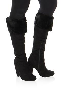 Faux Fur Cuffed High Heel Boots - BLK FFS - 1113014066608