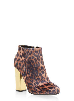 Mirrored Metallic Heel Booties - LEOPARD F/S - 1113014067236