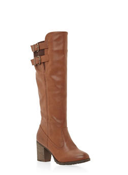 Knee High Boots with Double Buckle - 1113014067289