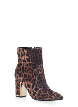 Metallic Detail Block Heel Booties - LEOPARD VELVET - 1113014067469