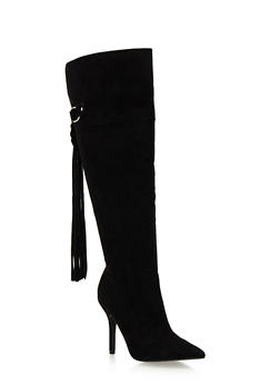 Over the Knee Heeled Boots with Tassel - 1113029916498