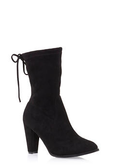 Faux Suede Mid Calf Boots with Tie Top - 1113057181652