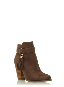 Faux Suede Ankle Boots with Tassel Accent - 1113057181656