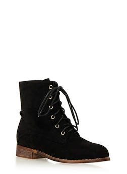 Faux Suede Combat Boots with Tonal Stitching - BLACK - 1113057181657