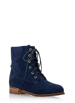 Faux Suede Combat Boots with Tonal Stitching - 1113057181657