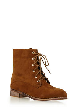 Faux Suede Combat Boots with Tonal Stitching - CHESTNUT - 1113057181657
