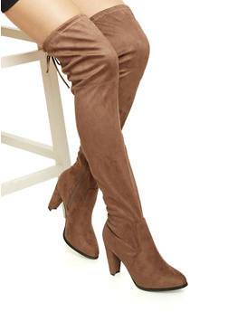 Over-the-Knee Boots with Cinch at Top - 1113057181660