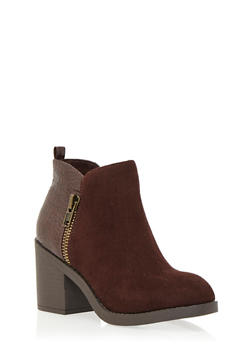 Faux Crocodile and Brushed Faux Suede Ankle Bootie with Side Zip - 1113062091817