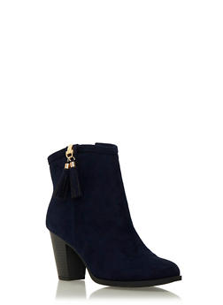Faux Suede Ankle Boots with Tassel Accent - 1113062095919