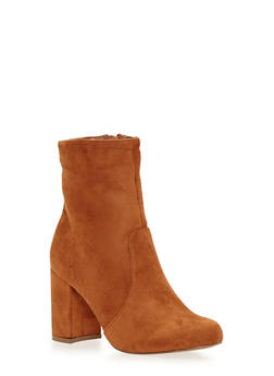 Faux Suede Ankle Boots with Chunky Covered Heels - 1113062865254
