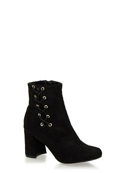 Faux Suede Ankle Boots with Lace Up Side - 1113062865654