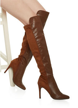 Over the Knee Boots in Faux Leather - TAN - 1113065482383