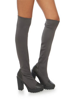 Lug Sole Platform Stretch Boots - 1113065482742