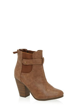 Ankle Boots with Chunky Heels and Cap Toes - 1113065484245