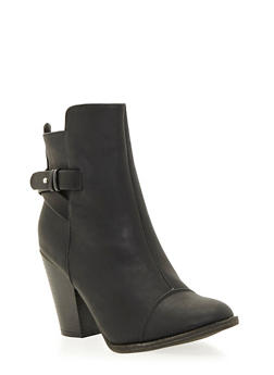 Ankle Boots with Chunky Heels and Cap Toes - 1113065484326