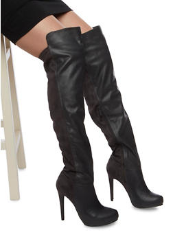 Over the Knee High Heel Boots in Faux Leather and Faux Suede - 1113065487262