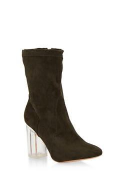 Faux Suede Booties with Clear Heel - 1113068265680