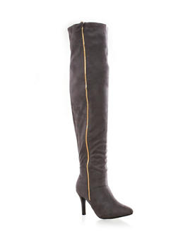 Thigh High Boots with Side Zipper,GRAY,medium