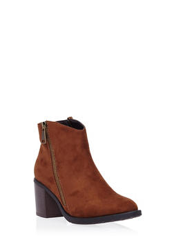 Ankle Boots with Side Zip Accents - 1113073112328
