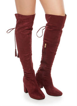 Lace Up Back Over the Knee Boots - 1113073112433