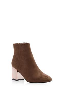 Mirrored Metallic Heel Ankle Booties - 1113073112474