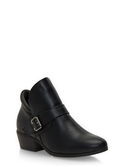 Ankle Boots with Buckle Accent - 1113073112662