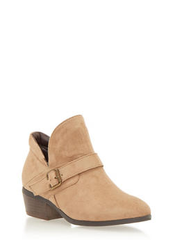 Ankle Boots with Buckle Accent - TAUPE F/S - 1113073112662