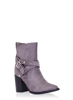 Ankle Boots with Buckle Accent - 1113073112695