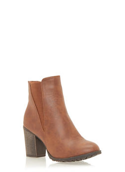 Ankle Boots with Chunky Heel - COGNAC - 1113073113552