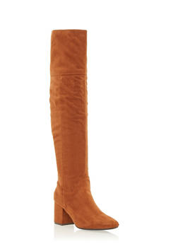Over the Knee Boots with Block Heel - 1113073114444