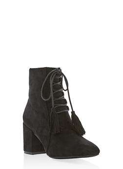 Lace Up Faux Suede Booties - BLACK - 1113073115223